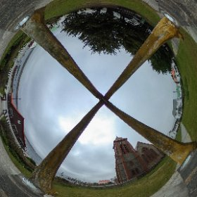The Christ Church Cathedral seen from inside the whalebone arch in Stanley, Falkland Islands. #theta360