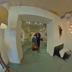 On The Knees at Irish Design Work Exhibition in  Niland Gallery on Merchant Road in Galway | Cllr. Pádraig Conneely captured at the launch with €4400 worth of goat in his hand | art by Donnacha Cahill, photo by Darius Ivan divmedia.ie #sakura3d #theta360