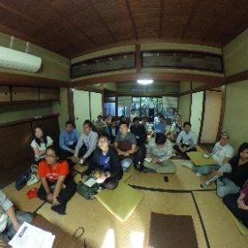 東南アジアから来日した優秀な面々「IATSSフォーラム」が、町家にやって来たよ。「なぜ京都で働くのか?」みたいなことを、ボクも喋るよ。 #theta360