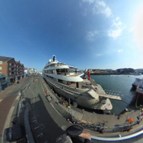 the yacht name Here Comes the Sun from the stone end in Poole Harbour #theta360 #theta360uk
