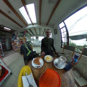 Fairly typical breakfast joint in Ecuador. Two bucks for eggs, bread, cheese and hot chocolate.  #theta360