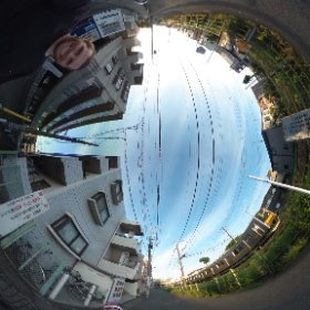 Family fun time — biking together to the convenience store by the train tracks!   #theta360