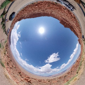 """Scenic overlook at """"The Cut"""" approaching Lake Powell. You can see the Vermilion Cliffs in the distance and Glen Canyon between the Cliffs and the scenic overlook. Glen Canyon becomes the Grand Canyon. #theta360"""