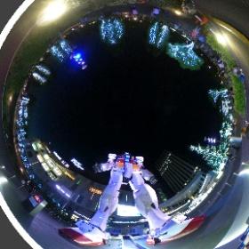 お台場来た、ガンダム夜景360度もイイネ。 #theta360