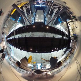 Back end ot the SR-71 and looking into the space exhibits --  the National Air & Space Museum Edvar-Hazy facility.  (Sunday, 1 March 2015) #theta360