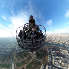 Eiffel Tower: Amazing views of Paris from the top of the Eiffel Tower on such a bright, crisp and exceptionally mild day on Friday, December 9, 2016. #theta360 #theta360uk