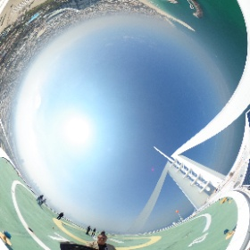 Looking over the edge of one of the world's most iconic buildings. The @burjalarab in #Dubai #theta360 #theta360uk
