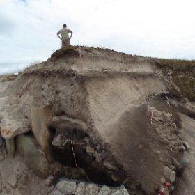 Escavación Areoso M4A16, perfil da mámoa tras a limpeza inicial