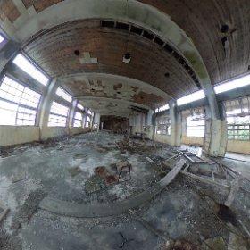 軍艦島小中学校の講堂。  長崎市に特別の許可を頂いて上陸しています。 #theta360