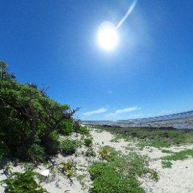 久高島、南側の海岸。地球は丸かった。 #theta360