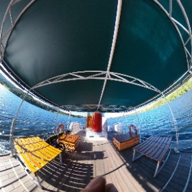 Onboard the Ullswater Steamers on Ullswater in the Lake District England #ullswatersteamers #ullswater #lakedistrict #boat  #theta360 #theta360uk