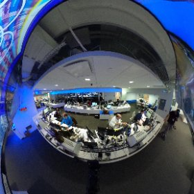 Theta 360 degree picture of the busy @NBCLA assignment desk tonight.  #theta360