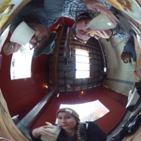 Ricoh Theta 360 degree image of one of the best breakfasts in the United States - Pine State Biscuits