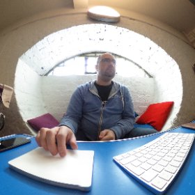 That's @sammachin from @nexmo in his temple of code. #ota16 #theta360