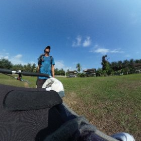Zoom in on this one! Gorgeous tin-roof houses bordering a soccer field.  #theta360