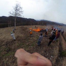 上の原の野焼き #theta360