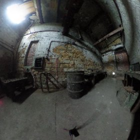 HEMINGFIELD COLLIERY: The former coal mine's winding wheel was powered by a stream engine which filled this building, now being restored and subject of a virtual tour, next to the Elsecar Heritage rail line in Barnsley, S Yorks, UK. #theta360 #theta360uk