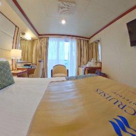 Habitación del crucero Princess Regal, suite con balcón #PrincessATB #theta360