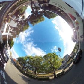 #RICOH #THETA #全天球写真 バスと街路樹。先週の写真で済みません(^^;