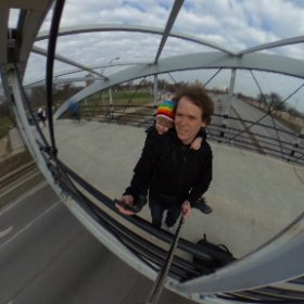 Father and son out for a walk on a windy Chicago winter day. #theta360