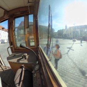 In der historischen Straßenbahn auf dem Bürgerfest.