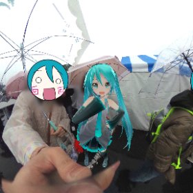 ゆるキャラグランプリの入場待機列!雨で寒いけどテンション上がるね #miku360 #rain3d