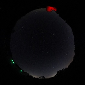 """A clear night at Norman Lockyer Observatory, Sidmouth, Devon showing a """"red light painted"""" Connaught Dome. 25 sec exposure @ ASA 400 #theta360"""