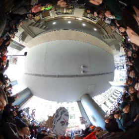 A 360 panorama of protesters demonstrating at the Board of Trade building.