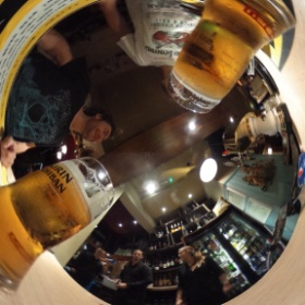 Panorama Photographer meetup - currently outnumbered by the bar staff! (Shot with Ricoh Theta.)
