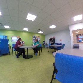 Family and staff community room on a patient floor. #rehabilitation #askformary #theta360