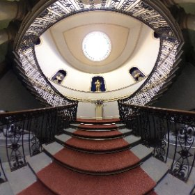 WENTWORTH WOODHOUSE: The magnificent staircase, showcasing neoclassical statues and other  art, leading to the Marble Hall inside  the stately home at Wentworth, on the Rotherham and Barnsley border in South Yorkshire, UK. #theta360 #theta360uk