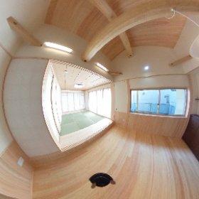 東濃ヒノキの家ほぼ完成。ん〰いかに360度カメラといえ、雰囲気は伝わらんなあ!めっちゃ残念。グルグルしてみて、特に上ね。梁がいい!