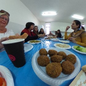Breakfast with the teachers at the SIRA school in Bethlehem #theta360