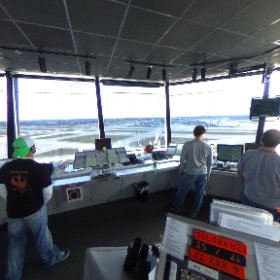 A 360-degree view from MSP's control tower as Twin Cities area media learn about Data Comm, a new digital technology that allows controllers and pilots to communicate on display screens, enhancing safety and reducing delays.