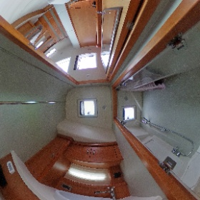 Sailingyacht Moody DS54, bathroom with owner-cabin. Spherical image, 360-Grad-Foto - by Yachtfernsehen.com.