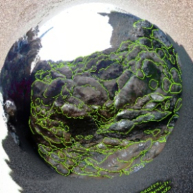 Annotated spherical photo of pillow basalts exposed in a shallow sea cave at Black Sands Beach, Marin Headlands, Cailfornia.