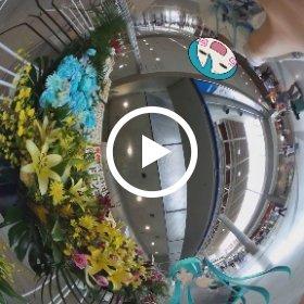 ( #miku360 ではこんなこともできます) #マジカルミライ のお花の前でミクさんとお花をみていたらミクさんが・・・!