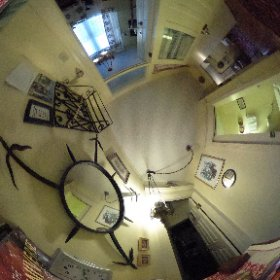 Family Suite private hall and Bathroom at the Gingerbread Cottage Bed and Breakfast in Victoria BC  #theta360