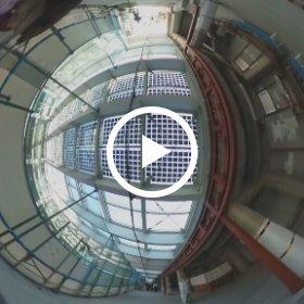 工事中の下北沢駅舎2階から駅舎内に入る様子(2018年11月3日撮影)