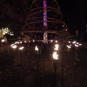 CHRISTMAS AT THE BOTANICS: Check out the scented Fire Garden, as real flame torches light up metal Christmas trees and other festive art works at the Royal Botanical Garden Edinburgh until December 30, 2017. #theta360 #theta360uk