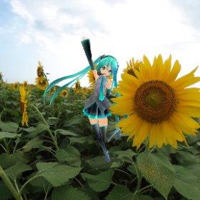 """MIKU in the Sun Flower Field"" edited by RICOH THETA  Type HATSUNE MIKU. #miku360"