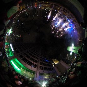 360 degree panorama of Chicago Rising New Year's celebration.