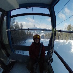 Good times heading up the gondola at @revelstokeMTN on a blue sky powder day in March! #theta360