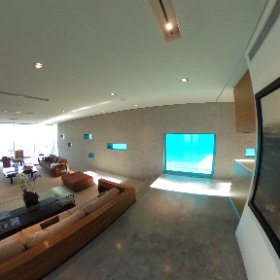 Preview of the stunning Greenbaum House. Pool viewed through glass notches in the desert home living room.  #theta360