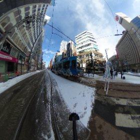 雪ミク市電 今年も会えました。 #雪ミク #miku360  #theta360