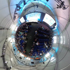 Immense rooms at Google I/O for amazing talks, now ready for Actions on Google #io18 #theta360