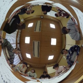 侍クラブプレゼンツ ~書初めと羽子板遊び〜 その4 書初めの様子 #theta360