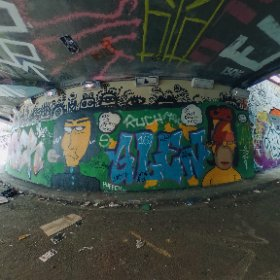 Full explorable 360 image of the #AlanRickman #DavidBowie @thesimpsons Graffiti Art in Leake street Graffiti Tunnel under Waterloo Station. Theta S camera