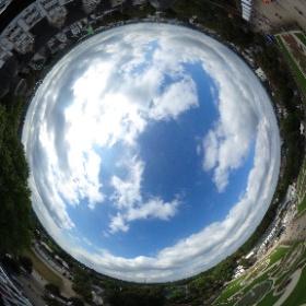Der Schlosspark aus luftiger Höhe beim Geburtstag - 1000 Jahre Schloß Neuhaus #theta360 #theta360de