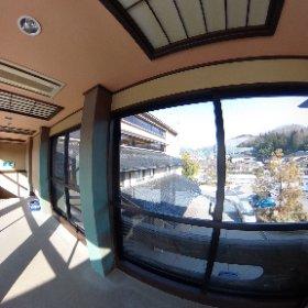 2階会議室への渡り廊下。 #theta360